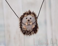 Felted hedgehog necklace by LilenokArt New design