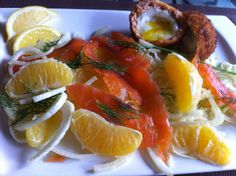 Salmon scotch eggs with orange cured salmon and fennel and orange ...