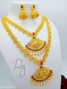 Jewellery Set Feminine Fusion Jewellery Sets Base Metal: Alloy Plating: Gold Plated - Matte Stone Type: Artificial Stones & Beads Sizing: Adjustable Multipack: 1  Sizes Available: Free Size   Catalog Rating: ★4.1 (1531)  Catalog Name: Feminine Glittering Jewellery Sets CatalogID_2945035 C77-SC1093 Code: 593-14822442-2001