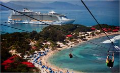 """2011 Inaugural Season of Royal Caribbean International's Allure of the Seas, the world's largest cruise ship, with stops in Labadee, Jamaica and Cozumel, Mexico. Kids did this """"Dragon's Breath"""" Zip Line, longest over water."""