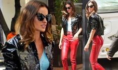 Izabel Goulart puts on a daring display in PVC red trousers | Daily Mail Online