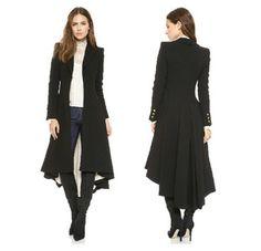Otoño invierno de la marca Wraceful abrigo de lana moda mujer largo trench negro 2015 estilo británico tuxedo manteau femme abrigos YG622