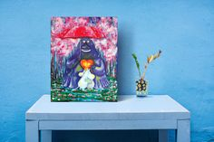 """ORIGINAL MOOMIN Acrylic painting """"Groke in the Spring"""", 35 x 45 cm on canvas, fanart"""