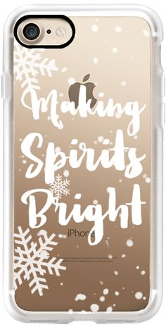 Casetify iPhone 7 Classic Grip Case - Modern Christmas making spirits bright typography holiday quote snowflake white by Girly Trend by Girly Trend #Casetify