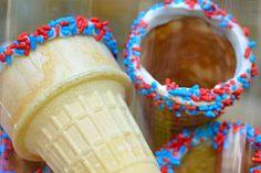 Sprinkle Ice Cream Cones #July4th #Food #Entertaining
