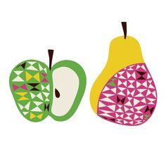 "Apple & Pear Movable, PVC-Free Wall Decals & Wall Stickers From Chocovenylâ""¢, designed by Helen Dardik Poster S, Poster Prints, Vinyl Wall Decals, Wall Stickers, Helen Dardik, Fruit Illustration, Apple Pear, Scandinavian Design, Pattern Design"