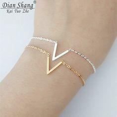 Chevron Initial Gold V Letter Bracelet For Women Minimalism BFF Jewelry Stainless Steel Friendship Bracelet Bijouterie Pulseira