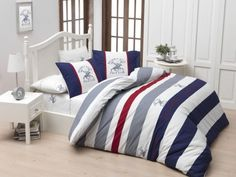 Exclusive Sale | Somproduct Mako Satin, Double Duvet Covers, Beverly Hills Polo Club, Quilt Cover Sets, Home Collections, 1 Piece, Comforters, Pillow Cases, Blue And White
