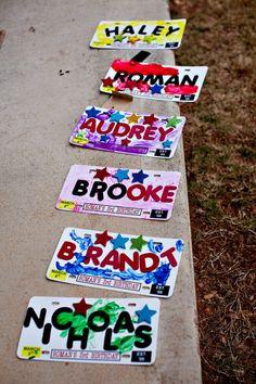 Cars birthday license plate craft