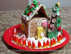 Crafts -N- Things for Children: Graham Cracker Gingerbread House & Ice Cream Cone Christmas Tree