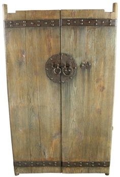 Large Pair of Antique Chinese Doors Large Nails