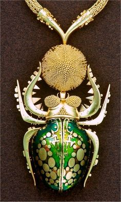 "Pendant by John Paul Miller. ""Dung Bettle"". 18k gold and enamel."