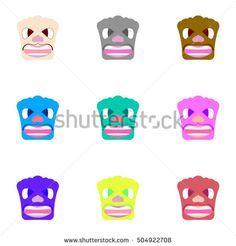 Nine angry faces of different colors. Sets caricature. Vector background.
