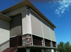 Motorized patio screen shades block the sun, the wind, and keep the view. http://www.budgetblinds.com
