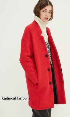 Yeni sezon kış modası Koton marka düğmeli düşük omuzlu kırmızı renk oversized kadın kaban modeli | Kadınca Fikir - Kadınca Fikir Coat, Women's Clothing, Sweaters, Jackets, Fashion, Women's Clothes, Down Jackets, Moda, Sewing Coat