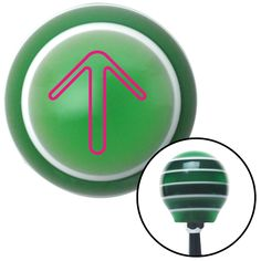 Pink Pointing Arrow Up Green Stripe Shift Knob with M16 x 15 Insert - Give your interior the ultimate look. American Shifter's Elite(TM) series shift knobs are made from the highest quality components resulting in a superior feel on every shift. Each shift knob is designed and customized in the USA by skilled shift knob artisans who have a trained eye on every detail. American Shifters shift knobs offers an exclusive aluminum threaded insert designed to be screwed onto your shift arm. You…