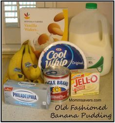 Easy Old Fashioned Banana Pudding Old Fashioned Banana Pudding 1 pk of Instant Banana Pudding 2 cups of milk 1 can of sweetened condensed milk 1 bar of cream cheese, room temperature 1 container of Cool Whip 4-5 sliced bananas 1 box of Nilla Wafers