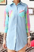 Patchwork Pink Cell Denim Lapel Shirt $34