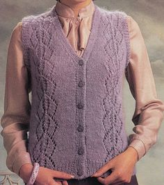 Vintage Knitting Pattern Instructions for Ladies Sleeveless Cardigan Plus Sizes