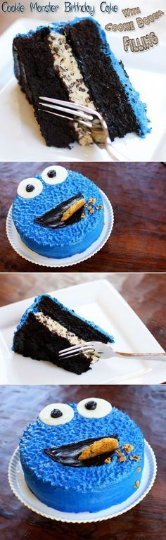 Cookie Monster Birthday Cake with Cookie Dough Filling: Moist, dark chocolate mocha cake, with a delicious layer of (eggless, of course!) cookie dough in the middle... Pretty much heaven in cake-form. Decorated to look like Cookie Monster for a 3 year old's birthday!