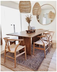 Modern Rustic Dining Table, Solid Wood Dining Table, Dining Room Table, Bed Table, West Elm Dining Table, Dining Living Room Combo, Vintage Modern Living Room, Beach Dining Room, Living Rooms