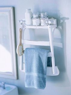 Broken chair? Nope! It's a #bathroom shelf & towel rack!     Have fun with your #remodeling ideas!