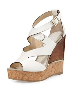baaeae86143a X30EH Jimmy Choo Nate 120mm Crisscross Wedge Sandal