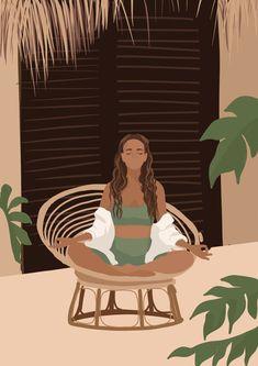 Girl Cartoon, Cartoon Art, Colorful Drawings, Art Drawings, Yoga Kunst, Tumblr Art, Nature Drawing, Portrait Illustration, Grafik Design
