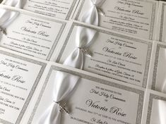 First Communion Invitations, Christening Invitations, Handmade Wedding Invitations, Custom Invitations, Silver Rhinestone, Silver Glitter, Small Envelopes, Boy Baptism, Belly Bands