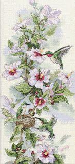 ENCANTOS EM PONTO CRUZ: Flores com Beija-Flor