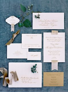 LOVE...Neutral wedding invitations in calligraphy with ribbon