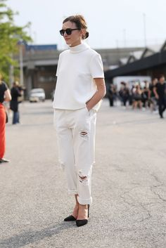 A little distressed on the streets for NYFW white jeans...
