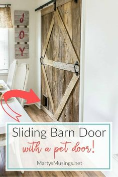 Learn how to build a sliding barn door (complete with a pet door!) with this step by step tutorial. #slidingbarndoor #barndoorDIY #barndoorhardware #rbarndoordesign #interiorbarndoor #howtomakeabarndoor #martysmusings