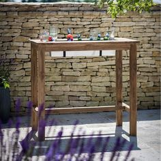 Garden Trading St Mawes Bar Table Reclaimed Teak ($615) ❤ liked on Polyvore featuring home, outdoors, patio furniture, outdoor tables, brown, outdoor patio furniture, garden furniture, rectangular pub table, outdoor garden table and outdoor bar table