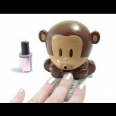 """Nail Dryer Breath Monkeys – This is an cool """"Unusual"""" Cute monkey nail polish blower dryer. Press on the plate of bananas and the cute monkey will blow cool air. Dry your freshly painted nails quickly. Nail Polish Dryer, Cute Nail Polish, Nail Dryer, Cute Nails, Pretty Nails, Gel Polish, Cool Stuff, Free Stuff, Nail Art Hacks"""