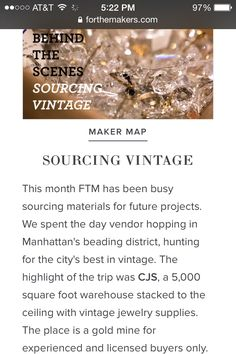 From the Source: Sourcing Vintage @CJS_Sales on @For The Makers https://www.forthemakers.com:443/posts/behind-the-scenes #jewelrymaking #vintage #supplies #sourcing #jewelrysupplies #designers #jewelry-making #design #vintagewarehouse #nyc