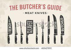 Poster Butcher diagram and scheme – Meat Knife. Set of butcher meat knives for butcher shop and design butcher themes. illustration – My WordPress Website Carnicerias Ideas, Shop Ideas, Butcher Knife, Meat Butcher, Meat Shop, Meat Markets, Fillet Knife, Butcher Shop, Chef Knife