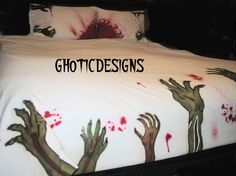 Zombie Duvet  bed set and pillowcases. Queen size door Ghoticdesigns, $145.00