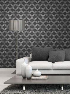 Fine Decor Wallpaper | Wentworth Geometric Wave Black Silver | FD41702