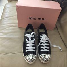 New sneakers Miu Miu crystal cap-toe suede Crystal cap toe lends a sparkling…