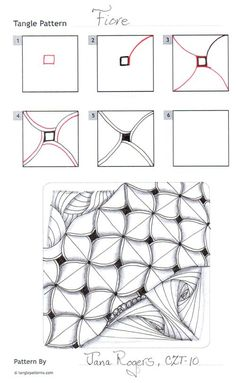 Online instructions for drawing CZT® Jana Rogers's Zentangle® pattern: Fiore.