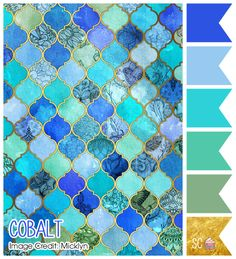 Buy Shower Curtains featuring Cobalt Blue, Aqua & Gold Decorative Moroccan Tile Pattern by micklyn. Made from easy care polyester our designer shower curtains are printed in the USA and feature a 12 button-hole top for simple hanging. Color Turquesa, Color Azul, Mermaid Coloring, Theme Color, Design Seeds, Tile Patterns, Pattern Art, Colour Schemes, Blue Color Combinations