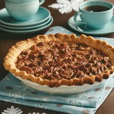Never-Fail Pecan Pie Recipe Desserts with sugar, all-purpose flour, salt, eggs, dark corn syrup, vanilla extract, pecan halves, pastry shell