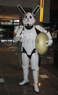 Funny pictures about Star Wars Stormtrooper Easter Bunny. Oh, and cool pics about Star Wars Stormtrooper Easter Bunny. Also, Star Wars Stormtrooper Easter Bunny. Geeks, Easter Bunny Costume, Storm Trooper Costume, Happy Easter Everyone, Darth Vader, Dc Movies, Best Cosplay, Funny Pictures, Anime