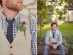 Now here's a groom look we can get behind. Love this rustic style.