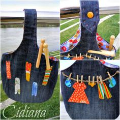 Bolsa para las pinzas Bag Pattern Free, Bag Patterns To Sew, Sewing Patterns, Quilting Projects, Sewing Projects, Sacs Tote Bags, Clothespin Bag, Sewing Crafts, Diy Crafts