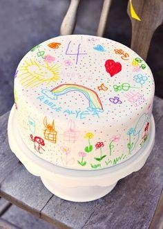 Bolo arco íris para criança pintar - Casinha da Cys
