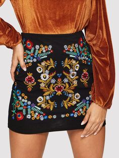 SHEIN Black Botanical Embroidered Textured Skirt Casual Zipper Night Out Mini Skirts Women Spring Elegant Workwear Skirt Cute Skirts, Casual Skirts, Short Skirts, Mini Skirts, Women's Skirts, Mini Dresses, Green Skirts, Summer Skirts, Workwear Skirts