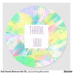 Pale Pastel Abstract Art Thank You Classic Round Sticker
