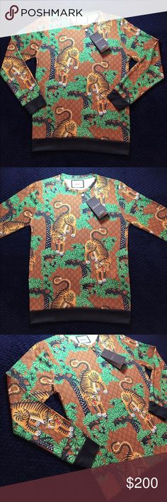 Printed Cotton Sweatshirt Gucci's printed cotton sweatshirt featuring the Gucci Bengal print, introduced for Cruise 2017. The print depicts tigers scattered amongst a colorful forest represented through brushstroke-style graphics to create a three-dimensional effect.  It runs one size smaller. Gucci Sweaters Crewneck